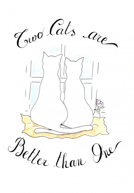 Two Cats are Better – hand painted fabrics and poster